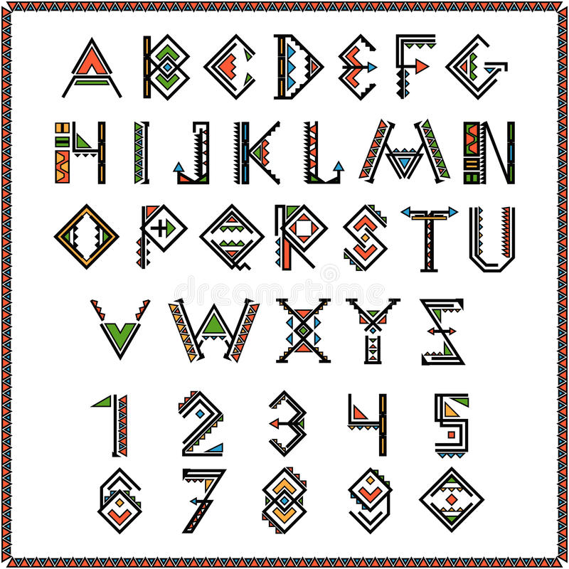 Native american indian font or mexican alphabet with numbers royalty free illustration