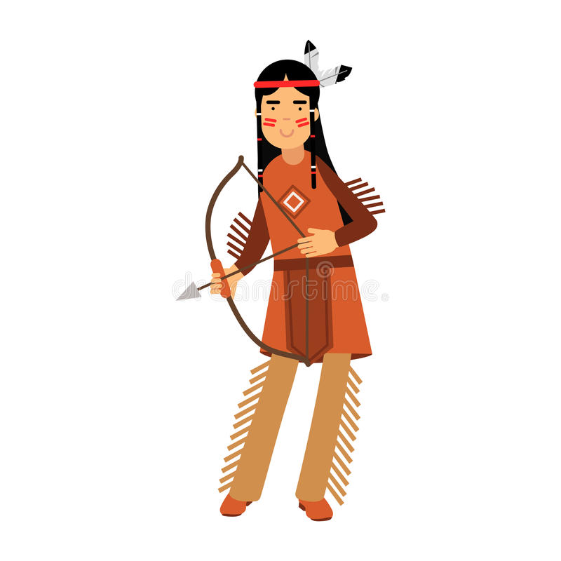 Download Native American Indian Girl In Traditional Costume Posing With A Bow Illustration Stock Illustration -  sc 1 st  Dreamstime.com & Native American Indian Girl In Traditional Costume Posing With A Bow ...