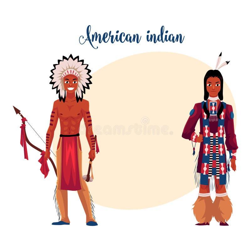 Native American Indian man shirtless in feather headdress, tribal shirt stock illustration