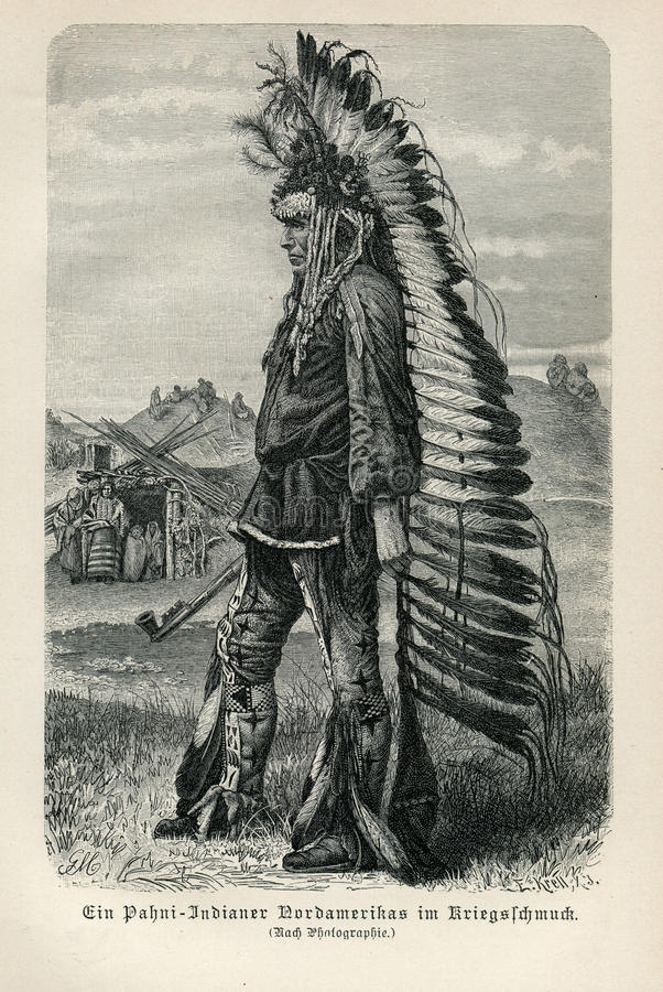 1890 NATIVE AMERICAN INDIAN MAN WITH PEACE PIPE. Image is taken from an original 1890 Antique Print Native American Indian Man smoke in peace pipe and wearing stock image