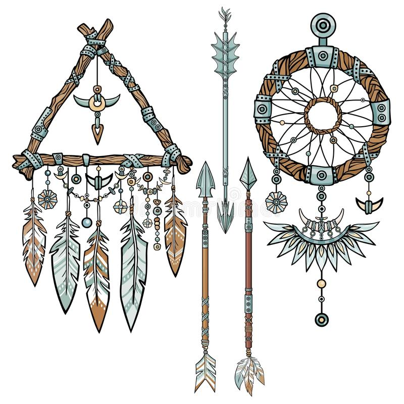 Free Native American Indian Talisman Dreamcatcher With Feathers. Stock Image - 78385761