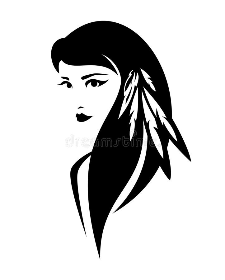 Free Native American Indian Woman Black And White Vector Portrait Stock Image - 163170671