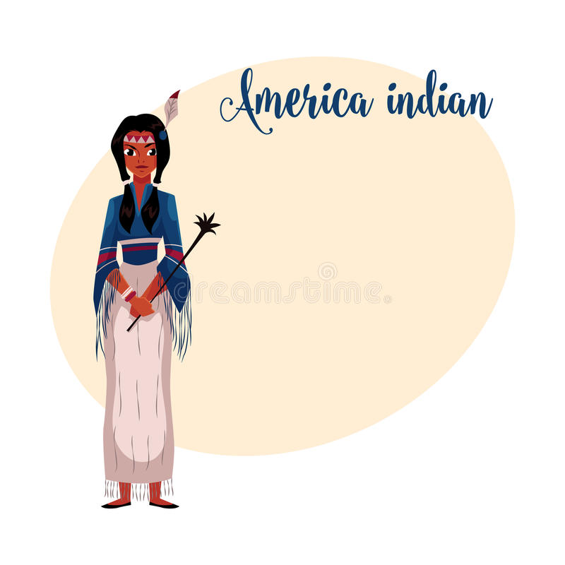 Native American Indian woman in national fringed shirt and skirt vector illustration