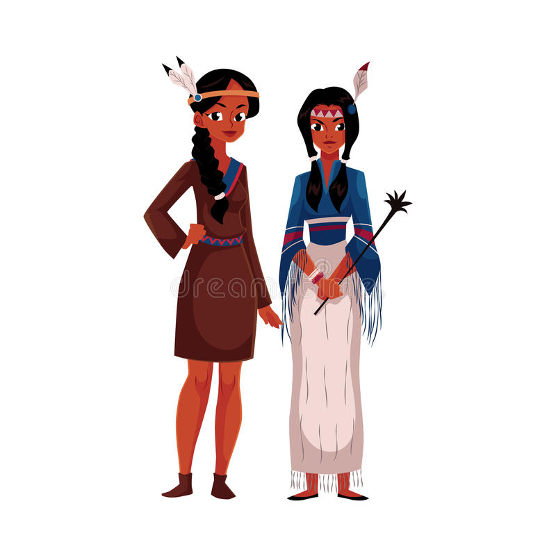 Native American Indian woman in traditional buckskin dress and tribal shirt stock illustration