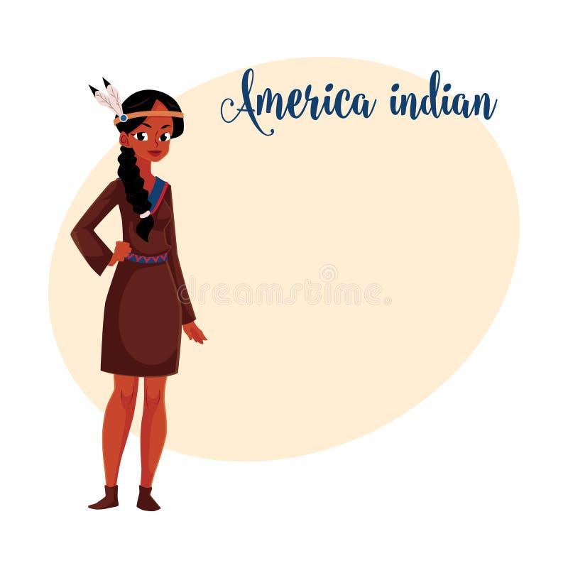 Native American Indian woman in traditional, national shirt buckskin dress stock illustration