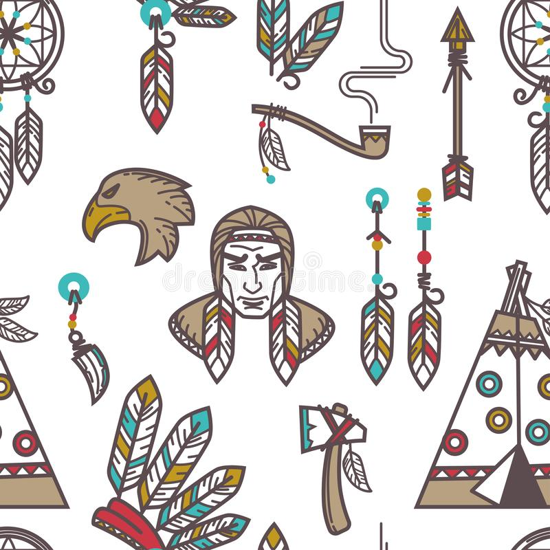 Native American Indians Traditional Culture Vector Sketch