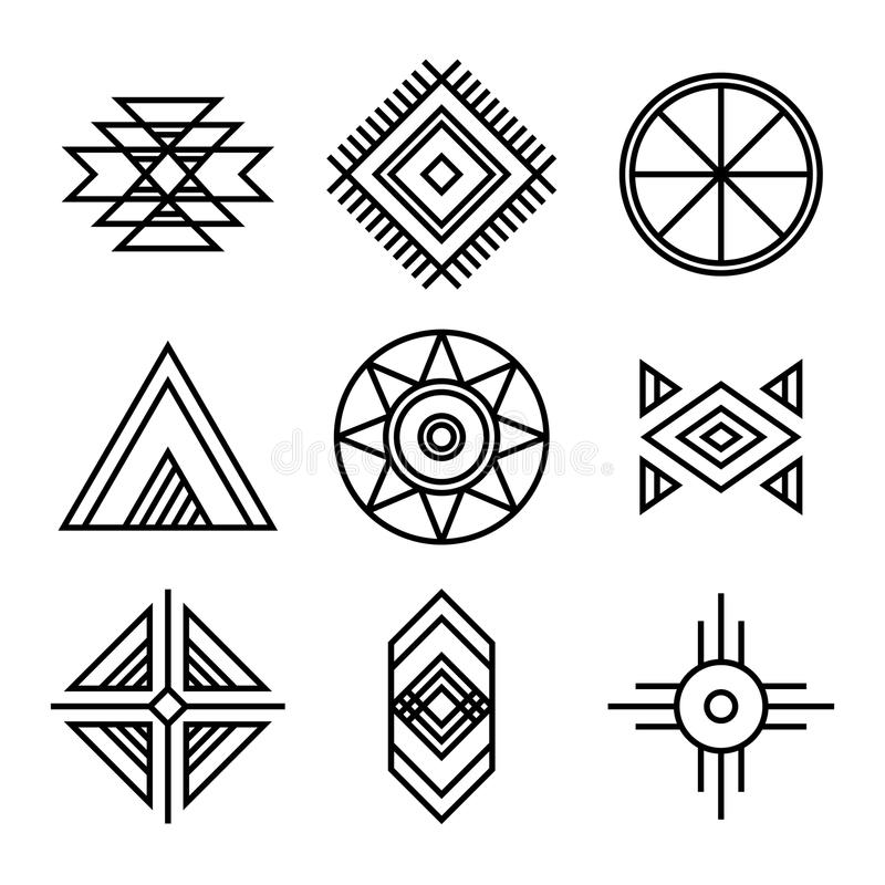 Native American Indians Tribal Symbols Stock Vector Illustration