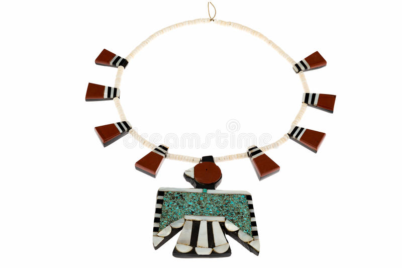 Native American Jewelry, Santo Domingo Turquoise and Coral Thunderbird and Tag Necklace. Native American Jewelry, Santo Domingo Turquoise and Coral Thunderbird stock photos