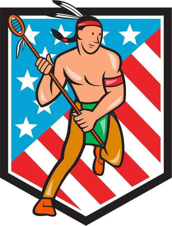 Native American Lacrosse Player Stars Stripes Shield stock illustration