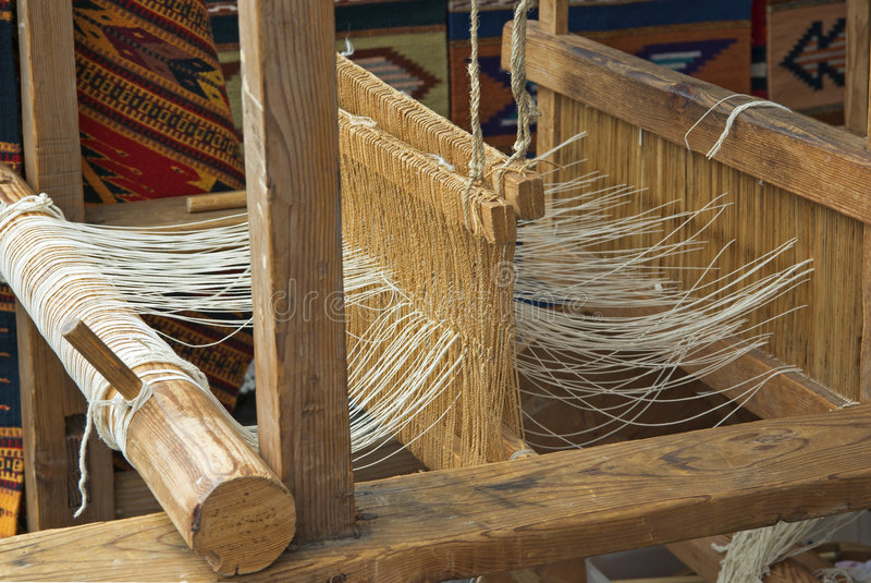 Native American loom. Native American rustic wooden loom royalty free stock images