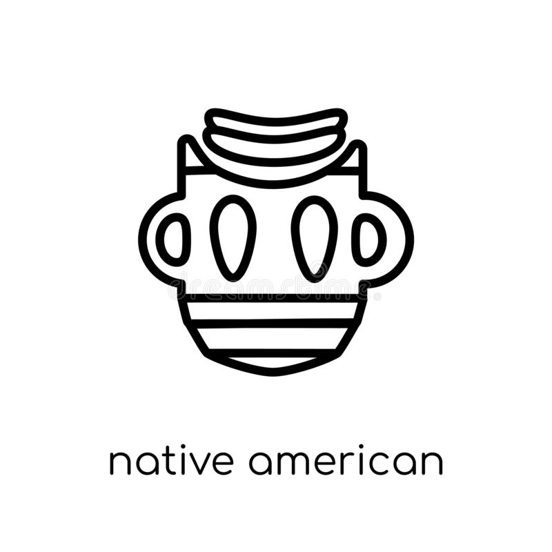 Native American Mask icon from American Indigenous Signals colle stock illustration