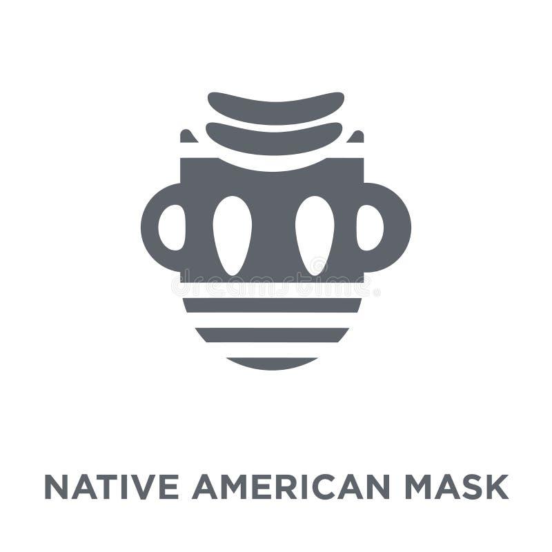 Native American-Maskerpictogram van Amerikaanse Inheemse Signalen colle royalty-vrije illustratie