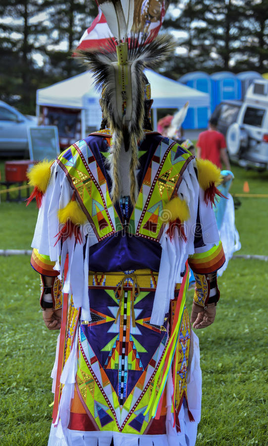 Native American Micmac Man's Colorful Costume royalty free stock photo