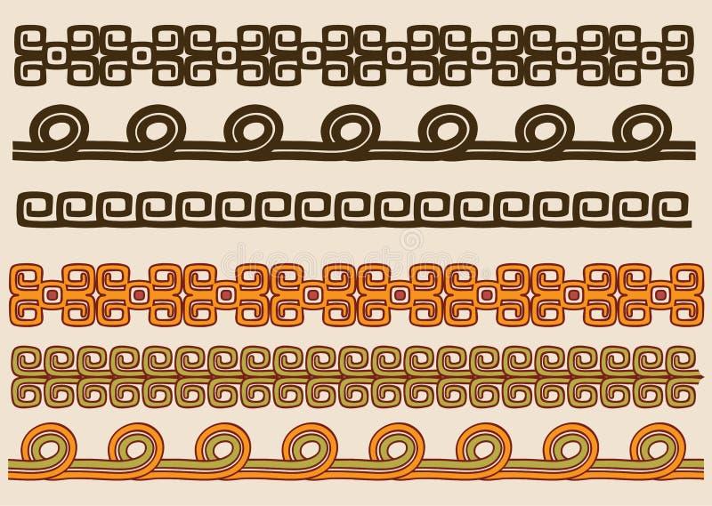 Native American pattern border set vector illustration
