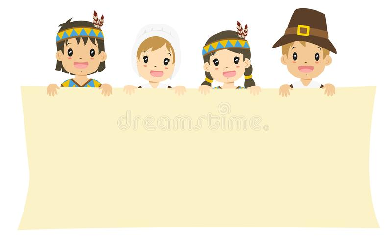 Native American And Pilgrim Boys Cartoon Vector Stock ...