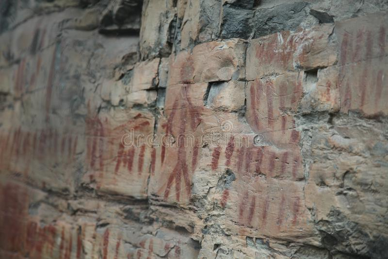 Native American Rock art in Northwestern Montana royalty free stock photography