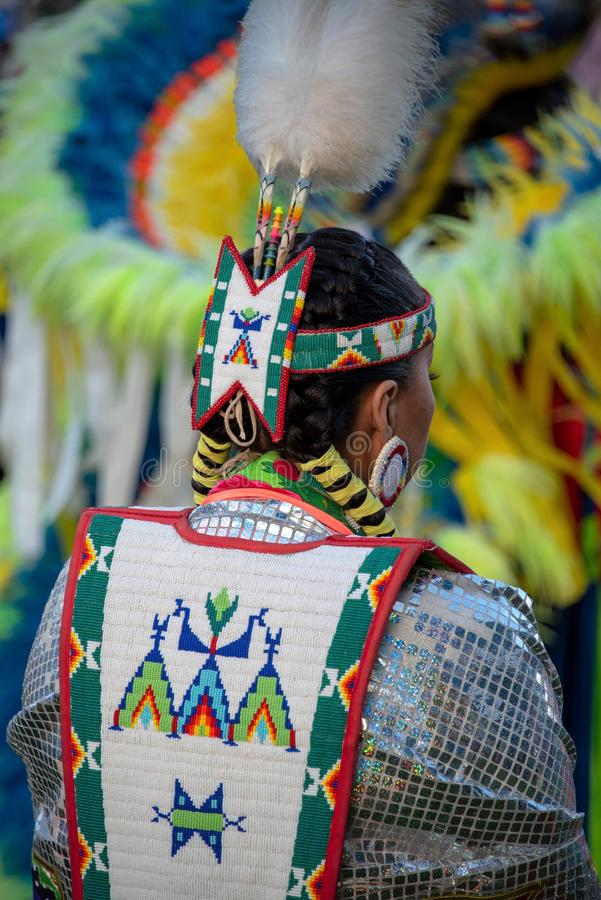 Native American in traditional attire stock photo