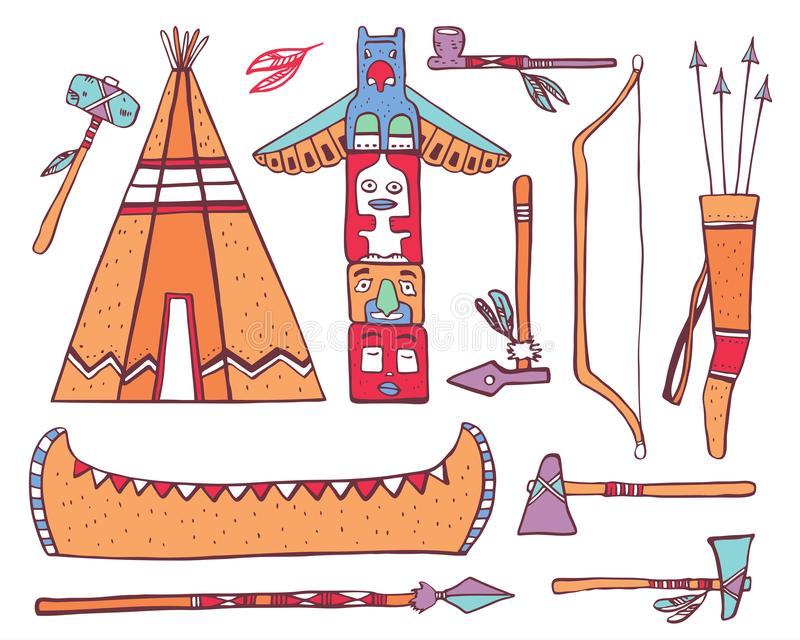 Native American traditional objects. Wigwam, totem pole, canoe, weapons. Color vector hand drawn outline sketch illustration set royalty free illustration