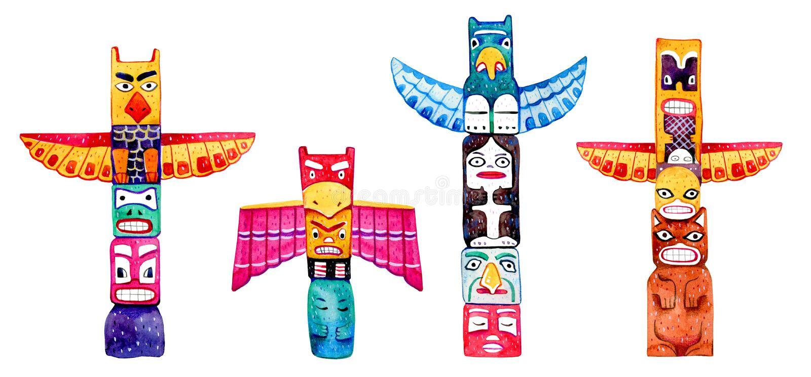 Native American traditional totem poles. Hand drawn watercolor illustration set. Group of four carved wooden figures stock illustration
