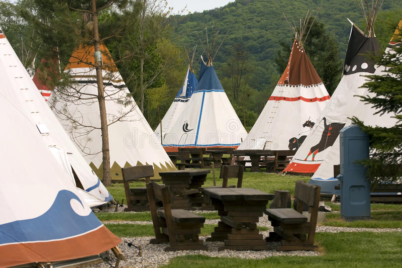 Native American vi. Copy of the Native Americans village with wigwams stock photography