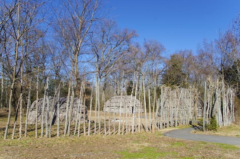 Native american village. Reconstruction, MD royalty free stock images