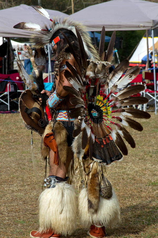 Native American Warrior. An Native American warrior dressed in full ceremonial regalia at the National Veterans Pow wow & Indian Festival, November 13-14, 2010 stock photos