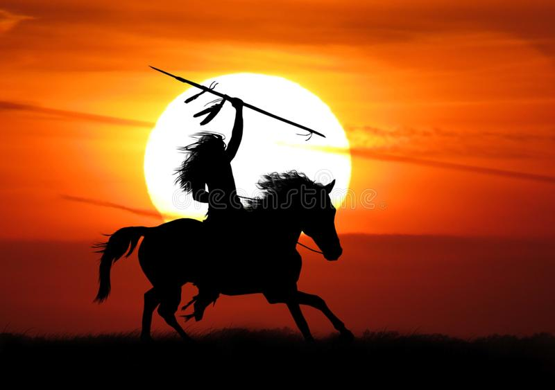 Native American warrior. On mustang at sunset in silhouette stock photo