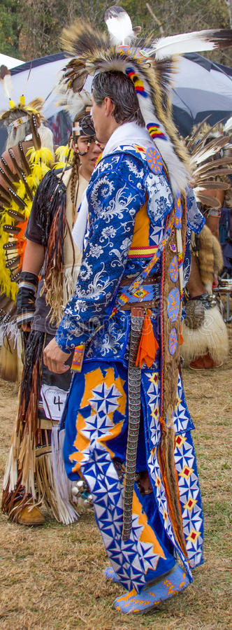 Native American Warriors. An Native American warrior dressed in full ceremonial regalia at the National Veterans Pow wow & Indian Festival in Canton, Geogia stock image