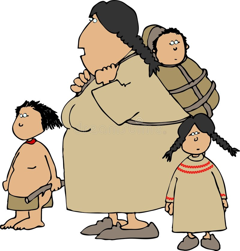 Native American woman and children. This illustration depicts a native American Indian woman with two children and a papoose on her back vector illustration