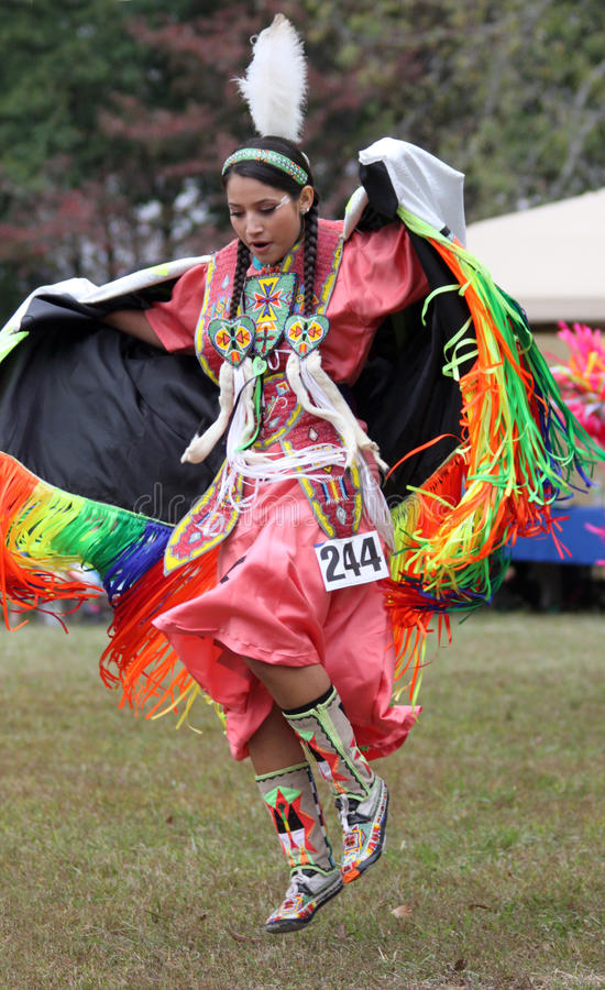 Native American woman dancing. Native American woman does traditional dance during Pow Wow in Nashville, TN royalty free stock photography