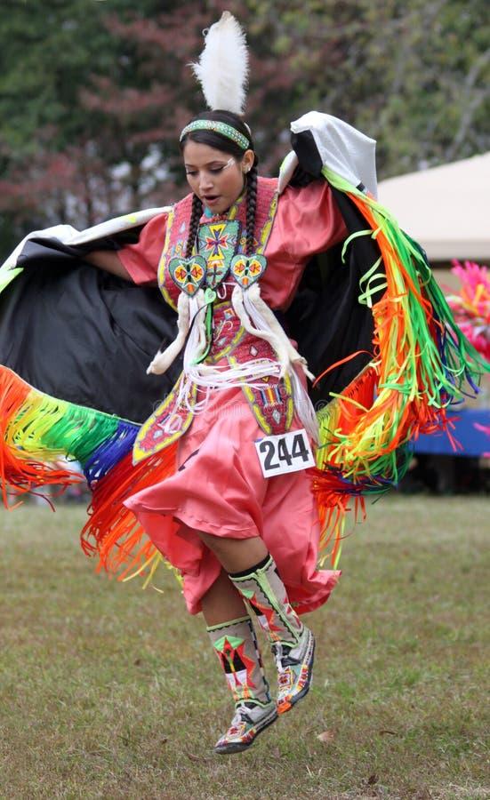 Native American woman dancing royalty free stock photography