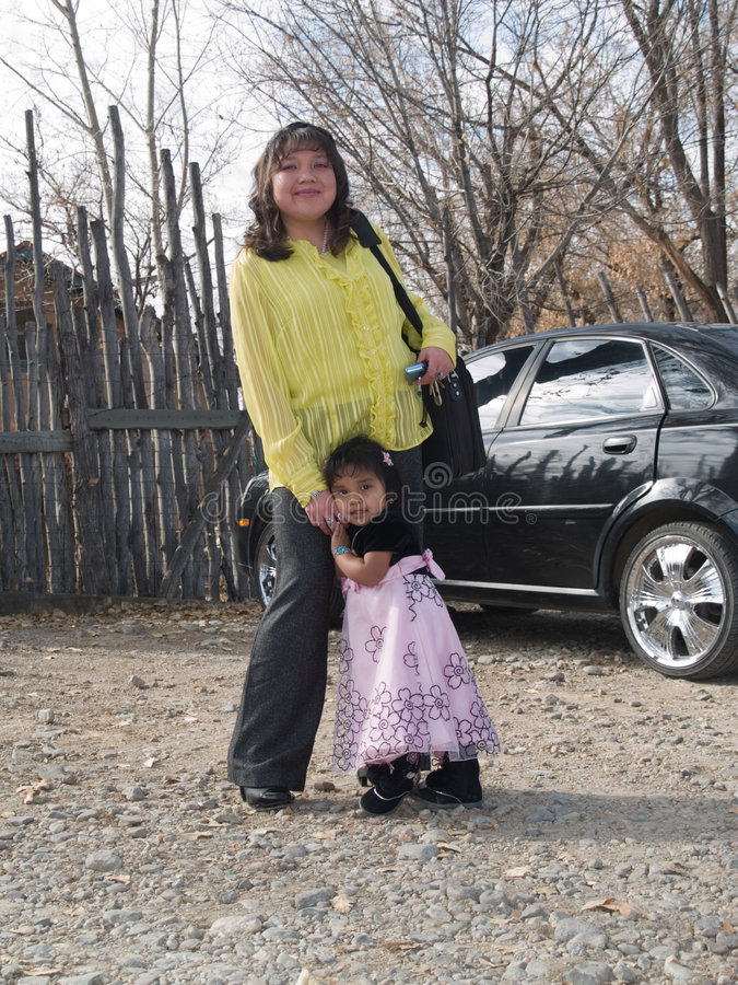 Download Native American Woman With Her Daughter Stock Image - Image: 7242355