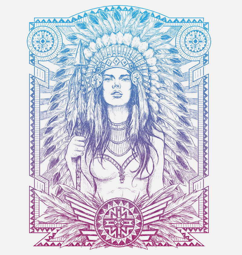 Native American Woman Warrior with Tribal frame. Vector Illustration for Tshirts.  stock illustration