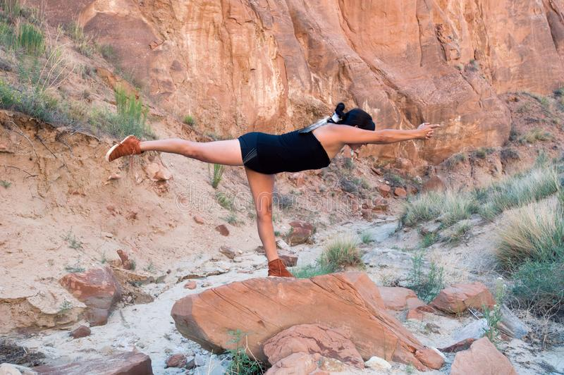 Native American Yoga Woman In Warrior Pose stock photography
