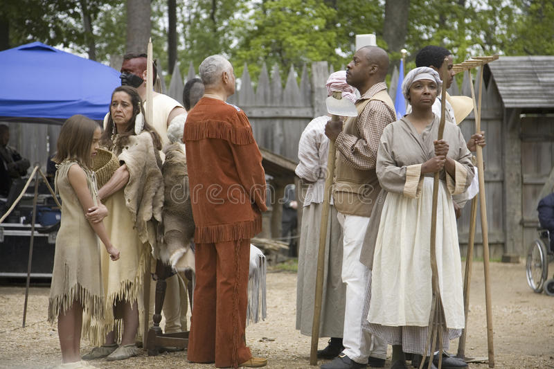 Native Americans and African slave reenactors. Posing as part of the 400th anniversary of the Jamestown Colony, Virginia, attended by Her Majesty Queen stock photo