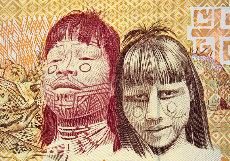 Native americans on Brazil 1000 cruzeiro 1990 banknote closeup. Brazilian money close up royalty free stock photography