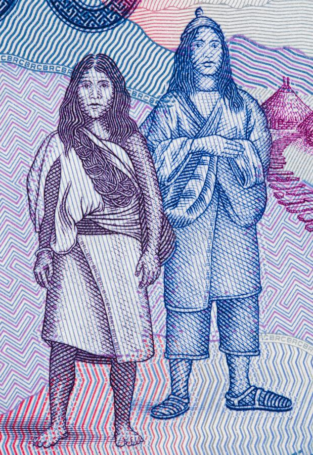 Native americans on Colombia 50000 peso 2016 banknote closeup. Macro, Colombian money close up royalty free stock images