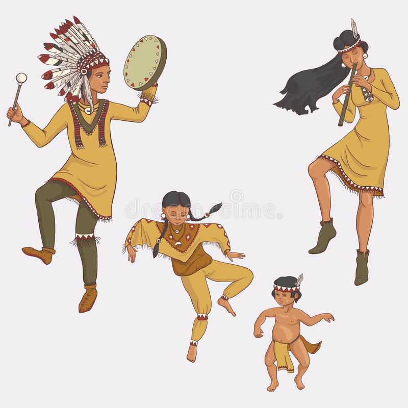 Native americans, dancing indian family in traditional costume vector illustration