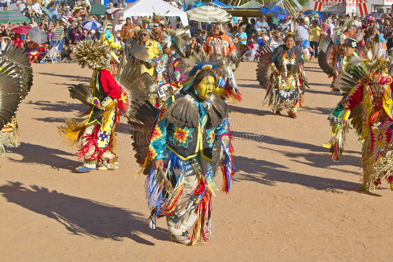 Native Americans in full regalia. Dancing at Pow wow stock image