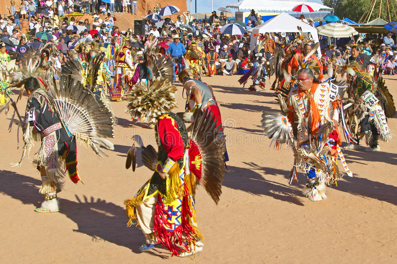 Native Americans in full regalia dancing. At Pow wow royalty free stock photo
