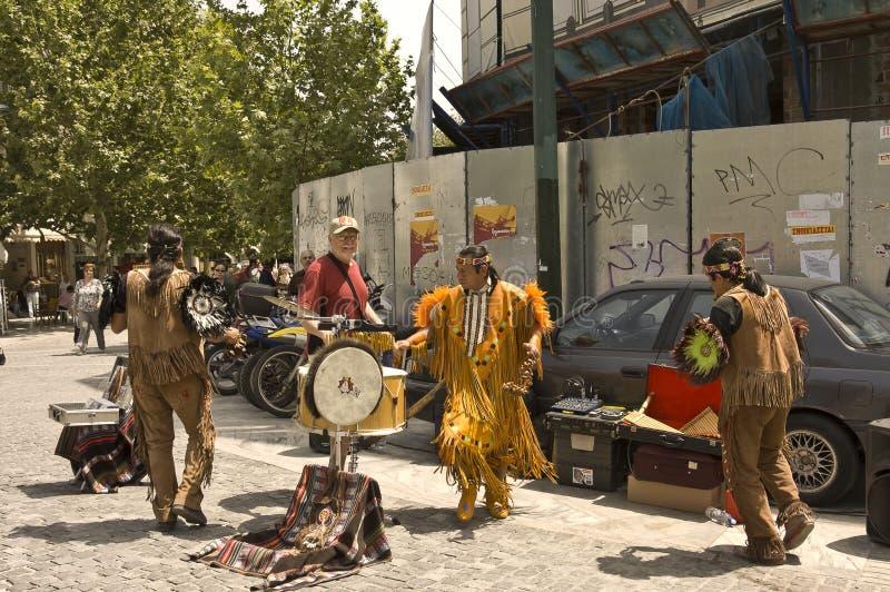 Native americans Inca dancers stock images