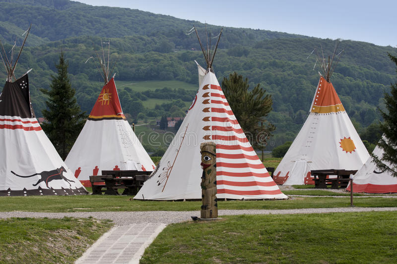 Native Americans village. Copy of the Native Americans village with wigwams stock images