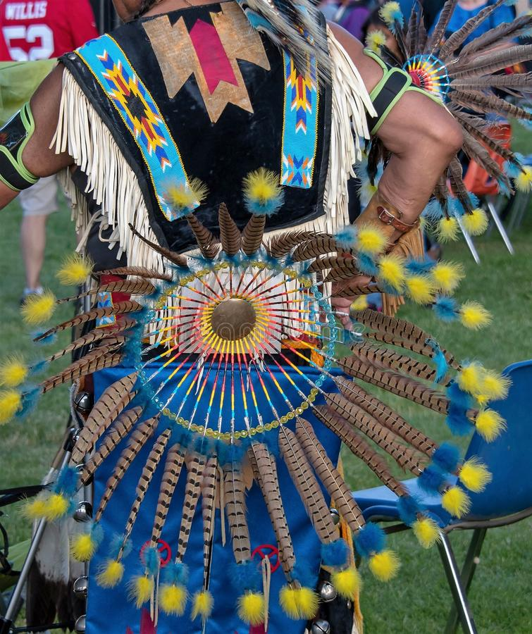 Native americans at Oregon powwow. Native Americans wearing the traditional outfits at the Portland Oregon powwow royalty free stock photos