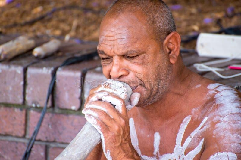 Native Australian Didgeridoo Player royalty free stock photos