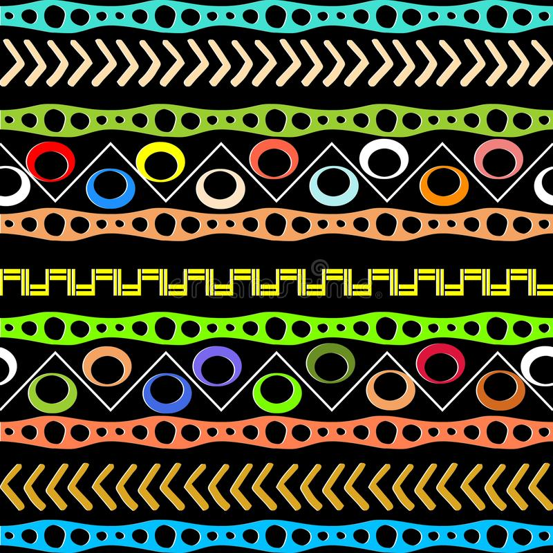 Native aztec style tribal vector seamless pattern. Geometric afr. Ican border ornaments. Abstract background. Colorful doodle shapes, zigzag, circles, stripes stock illustration