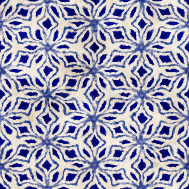 Native batik seamless watercolor artistic boho style colorful square pattern. Native batik watercolor artistic blue and white pattern. Ethnic boho style stock images