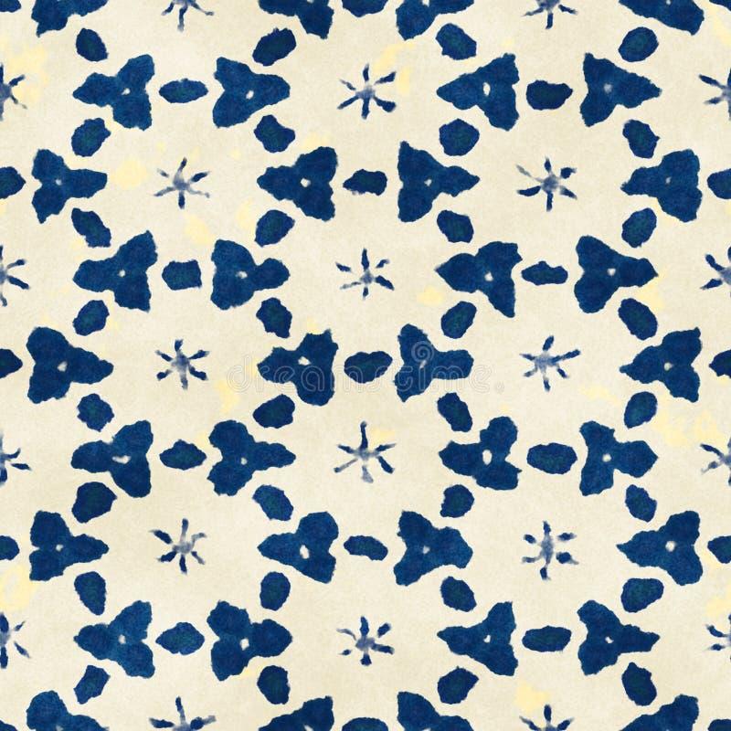 Native batik seamless watercolor artistic boho style colorful square pattern. Native batik watercolor artistic blue and white pattern. Ethnic boho style royalty free stock photo