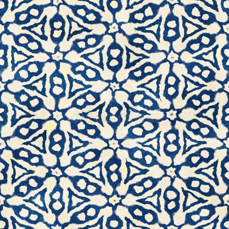 Native batik seamless watercolor artistic boho style colorful square pattern. Native batik watercolor artistic blue and white pattern. Ethnic boho style stock photos