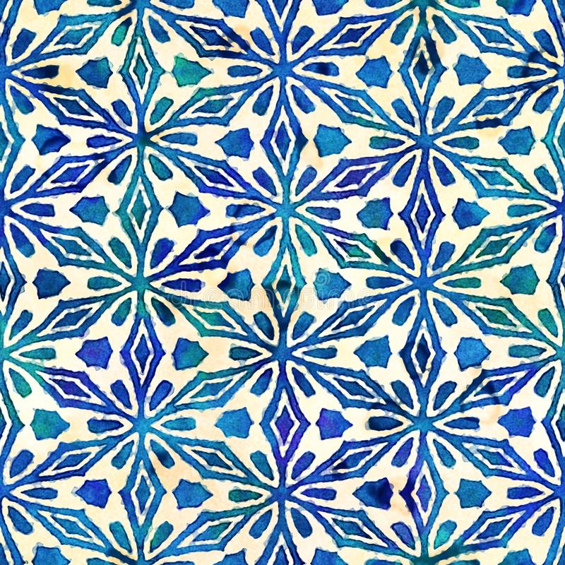Native batik seamless watercolor artistic boho style colorful square pattern. stock photos