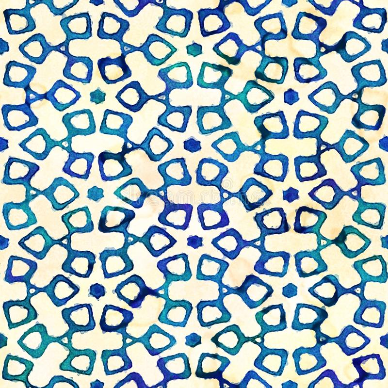 Native batik seamless watercolor artistic boho style colorful square pattern. Native batik watercolor artistic blue and white pattern with flowers or snowflakes stock photo